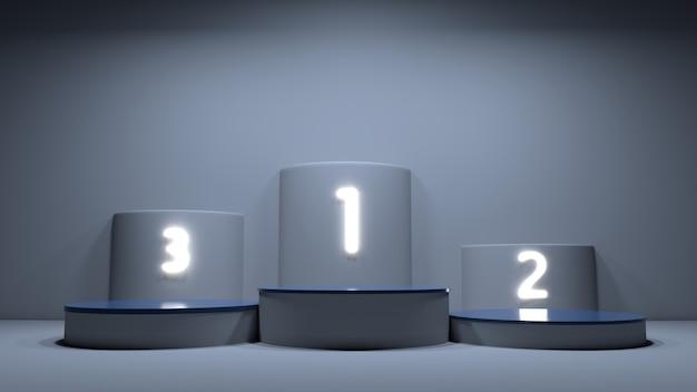 Puste podium zwycięzców z pierwszym, drugim i trzecim miejscem na ceremonię wręczenia nagród