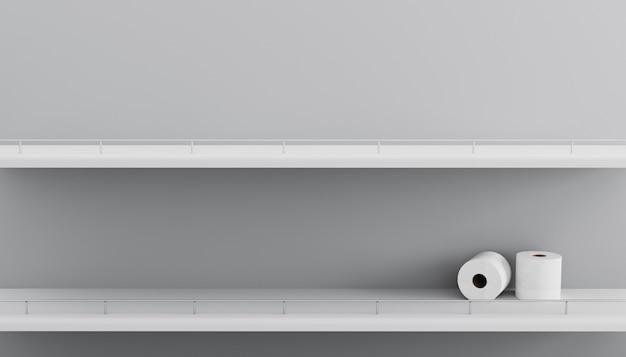 Puste półki rolek papieru toaletowego w supermarkecie. zbliżenie supermarketa puste białe półki