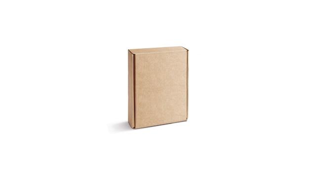 Puste pudełko z tektury falistej na białym tle, stać i leżąc. pusta składana płyta pilśniowa. przezroczysta, ręcznie robiona obudowa kraft do wysyłki lub logistyki.
