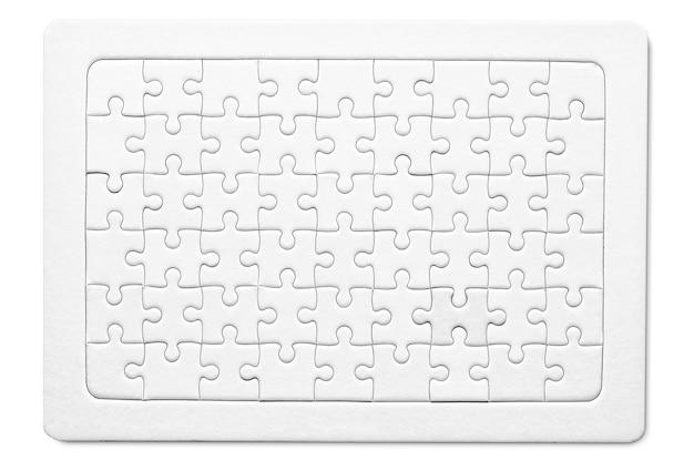 Puste puzzle z białego papieru makieta mozaiki sukcesu do wydrukowania projekt siatki puzzli