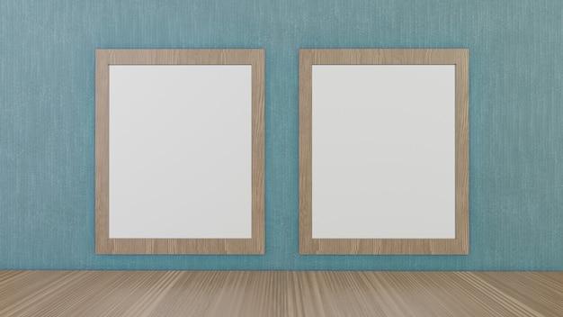 Puste ramki do zdjęć na zielonej tapecie do renderowania 3d w tle