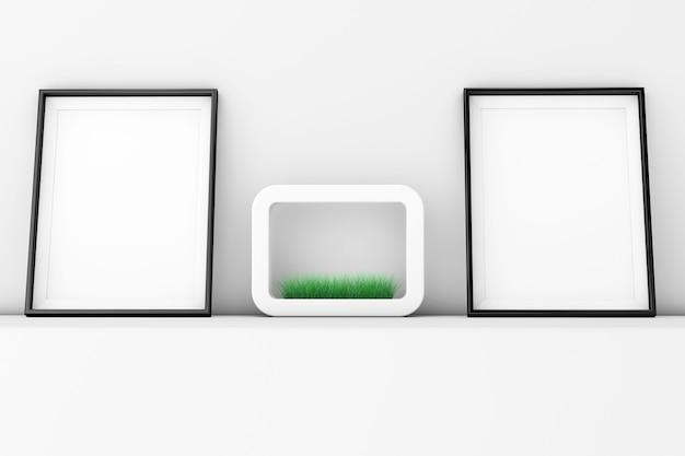 Puste ramki do zdjęć z trawy w białej ceramiki doniczka na ekstremalne zbliżenie białej ściany.