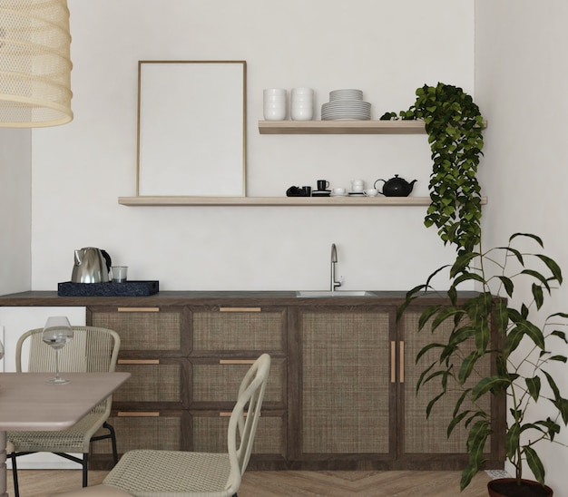 Puste ramki na półce w kuchni z rocznika design