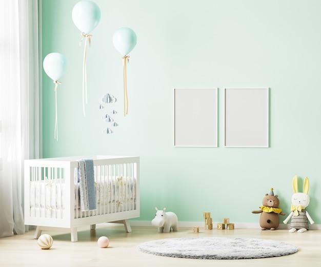 Puste ramki plakatowe na zielonej ścianie w tle wnętrza pokoju dziecinnego z pościelą dla dzieci