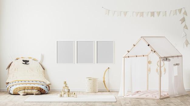 Puste ramki plakatowe we wnętrzu pokoju zabaw dla dzieci w stylu wiejskim z renderowaniem 3d namiotu