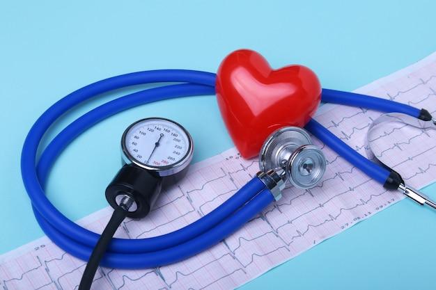 Puste recepta rx, stetoskop i czerwone serce.