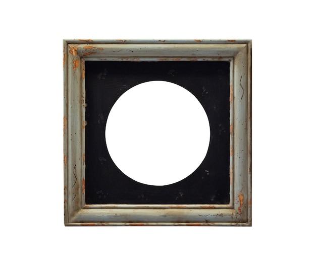 Puste rocznika drewniana ramka na zdjęcia na białym tle