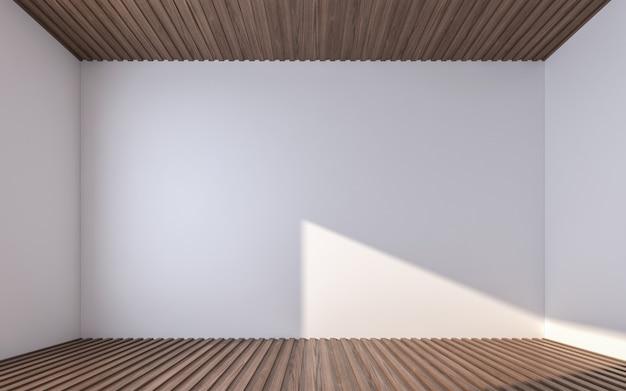 Puste ściany na drewnianej podłodze i suficie. renderowanie 3d