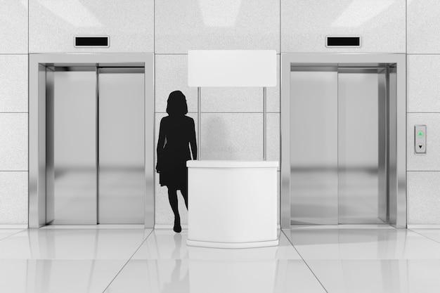 Puste stoiska promocyjne z sylwetką kobiety w pobliżu nowoczesnej windy lub windy z metalowymi drzwiami w biurowcu ekstremalne zbliżenie. renderowanie 3d