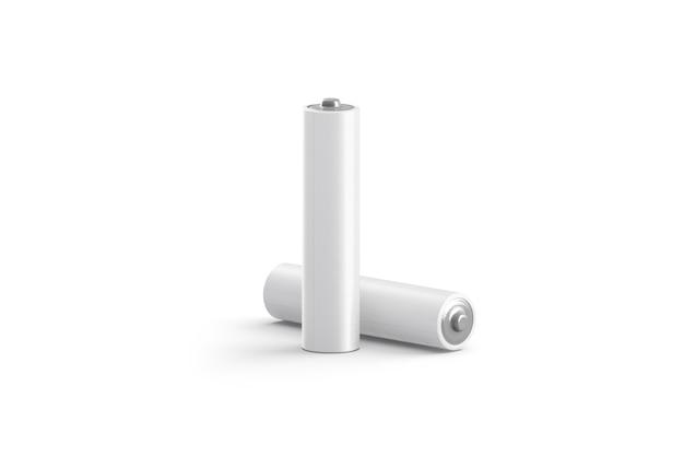 Puste stojaki na baterie białe moc i leżące, odizolowane, renderowania 3d.