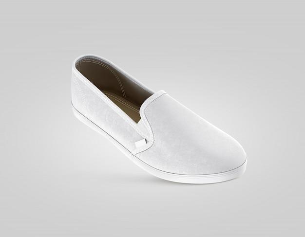 Puste szare buty wsuwane, na białym tle