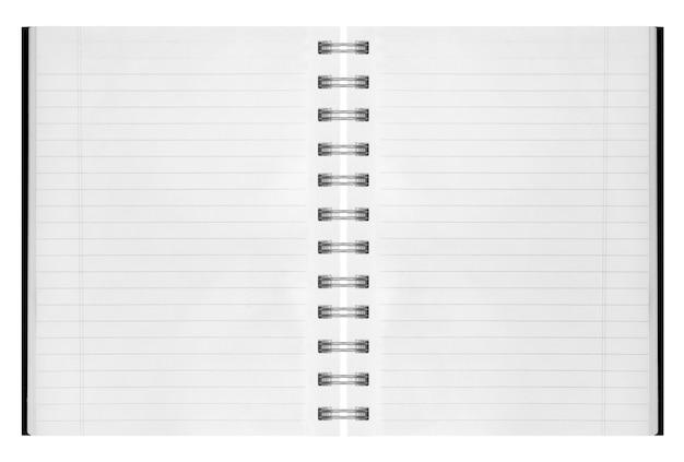 Puste tło. papierowy notatnik spiralny na białym tle