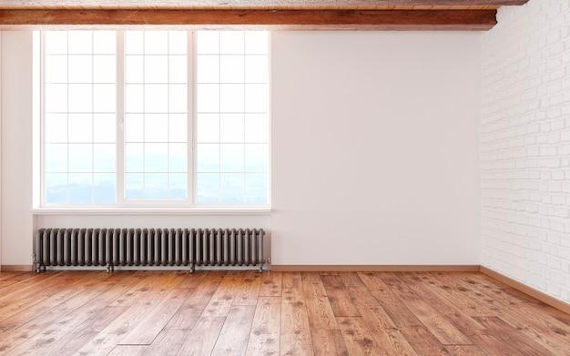 Puste wnętrze loftu z dużymi oknami, białymi ścianami, cegłami, drewnianymi belkami i podłogą.