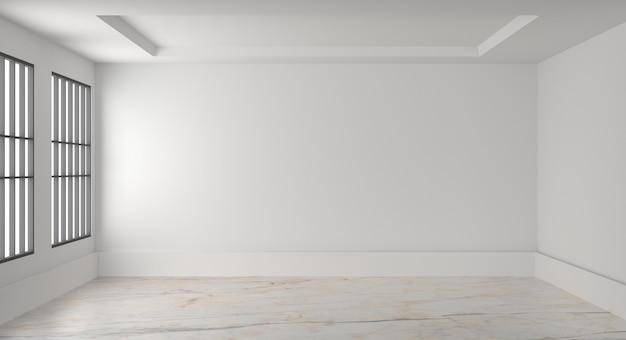 Puste wnętrze pokoju biała pusta ściana. renderowania 3d