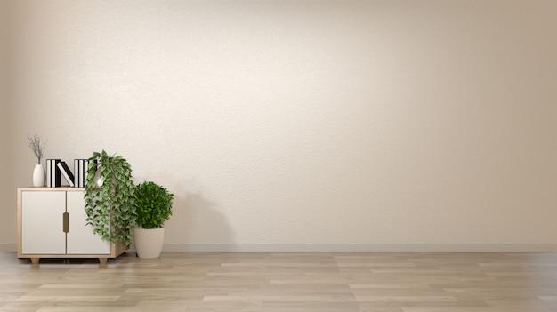 Puste wnętrze pokoju w stylu zen z dekoracją na szafce woonden na podłogowym drewnie w stylu japońskim.