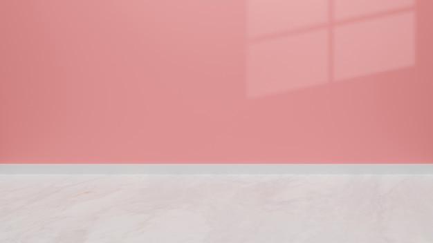 Puste wnętrze pokoju z czerwoną pastelową i marmurową podłogą, cień okna na tle produktu