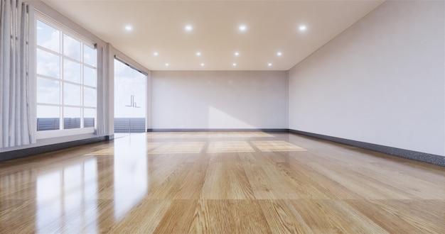 Puste wnętrze pokoju z drewnianą podłogą na ścianie. renderowanie 3d