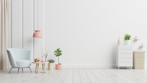 Puste wnętrze pokoju z fotelem i stolikiem w minimalistycznym wnętrzu salonu.