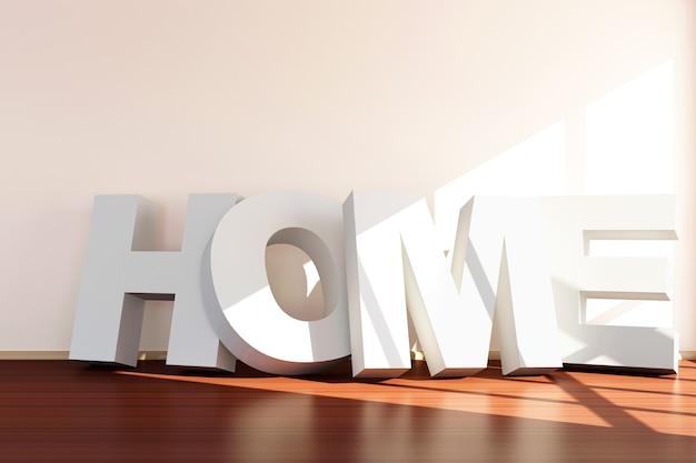 Puste wnętrze pokoju ze słowem home przy ścianie