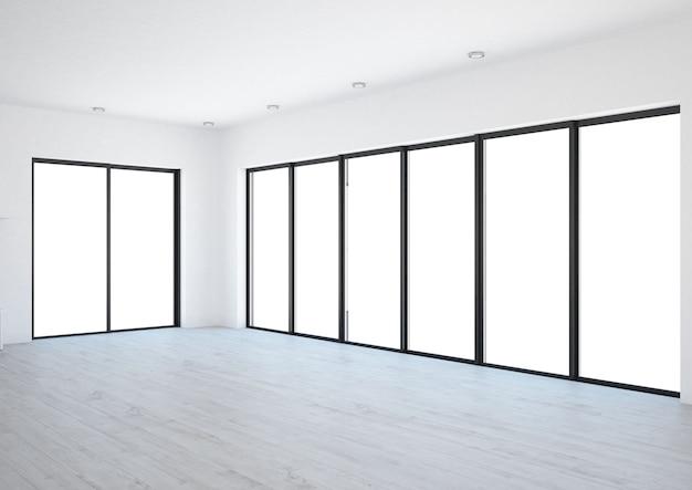 Puste wnętrze z dużymi oknami