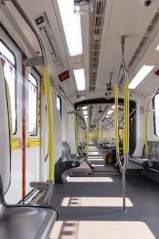 Puste zdjęcie pandemii metra w pociągu metra. wysokiej jakości zdjęcie
