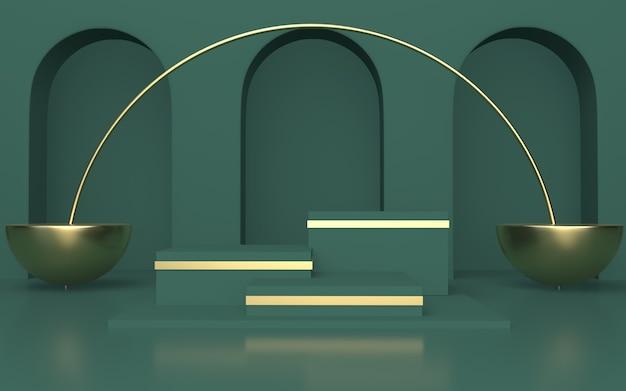 Puste zielone podium do wyświetlania produktów