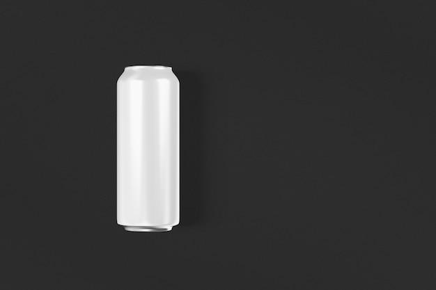 Puste zimne piwo aluminiowe może makieta z kroplami, renderowania 3d. puste świeże opakowanie cyny sodowej makiety z kondensatem, izolowane. pasuje do twojego projektu kapiącego drinka w puszkach.