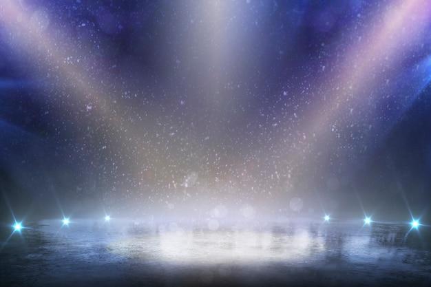 Puste zimowe tło. puste lodowisko ze światłami