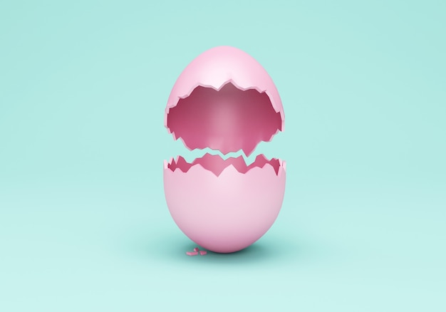 Puste złamane różowe jajko wielkanocne na turkusowej ścianie