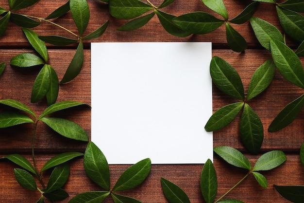 Pusty arkusz papieru i zielonych liści na drewnianym tle zbliżenie szablon dla miejsca kopiowania projektu lub zaproszenie