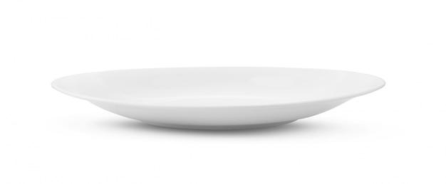 Pusty biały ceramika talerz na białym tle
