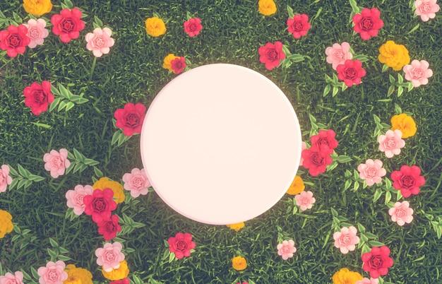 Pusty biały cylinder z tłem w ogrodzie różanym. leżał na płasko. widok z góry.