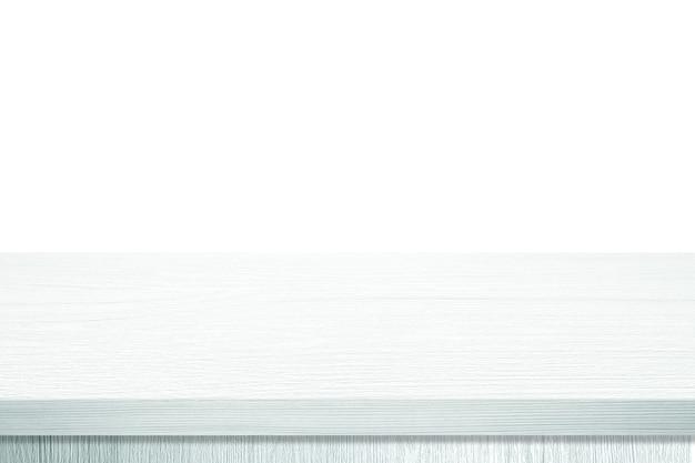 Pusty biały drewniany blat, biurko na białym tle