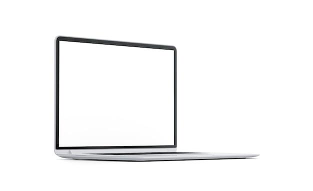 Pusty biały ekran laptopa makieta na białym tle pusty monitor komputera makieta wyraźny nowoczesny wyświetlacz komputera