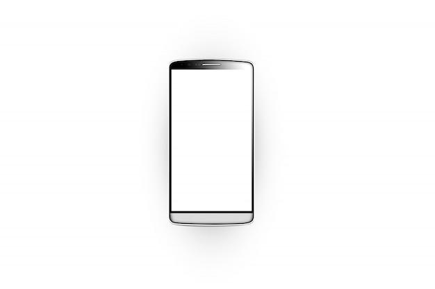 Pusty biały ekran smartfona na białym tle