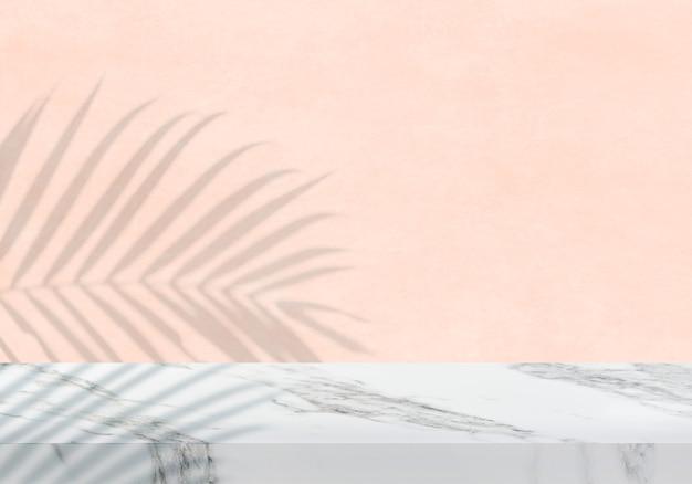 Pusty biały marmurowy blat z cieniem brzoskwiniowym tekstura tło produktu tło