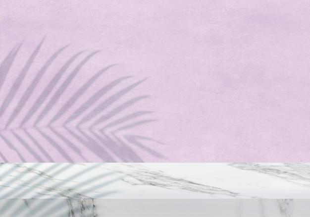 Pusty biały marmurowy blat z cieniem różowym teksturą tła produktu w tle