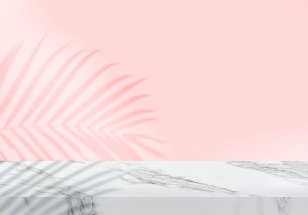 Pusty biały marmurowy blat z cieniem różowym tłem produktu w tle