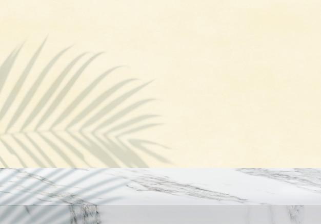 Pusty biały marmurowy blat z cieniem żółtym teksturą tła produktu w tle