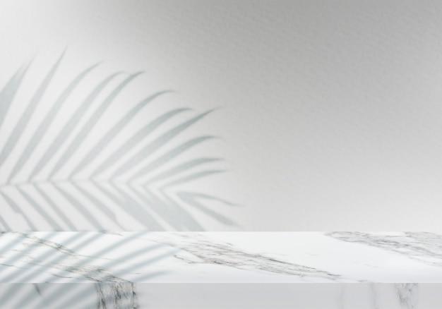 Pusty Biały Marmurowy Blat Z Szarym Tłem Produktu W Tle Premium Zdjęcia