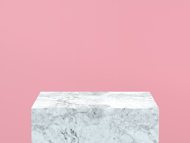 Pusty biały marmurowy podium na pastelowym menchii koloru tle