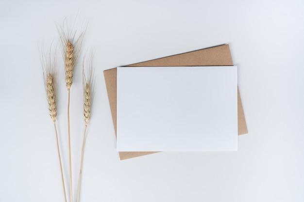 Pusty biały papier na brązowej kopercie z suchym kwiatem barle. widok z góry koperty z papieru craft na białym tle.
