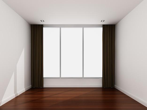 Pusty biały pokój rano
