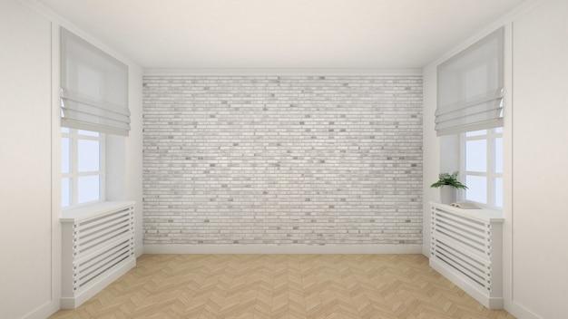 Pusty biały pokój w nowoczesnym stylu z oknami i drewnianą podłogą. renderowanie 3d