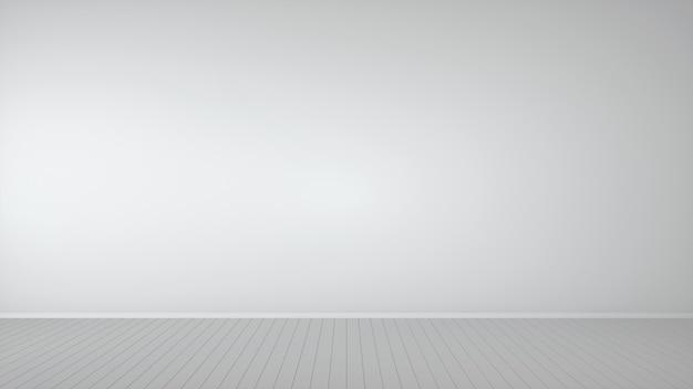 Pusty biały pokój z parkietem. szablon makiety do wyświetlania lub montażu produktu. renderowanie 3d.