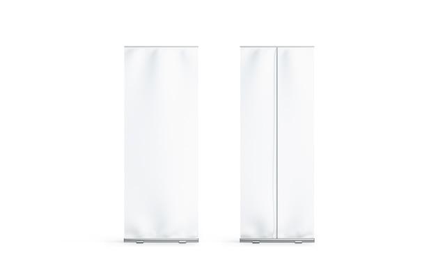 Pusty biały roll-up baner z przodu iz tyłu widok z boku, na białym tle