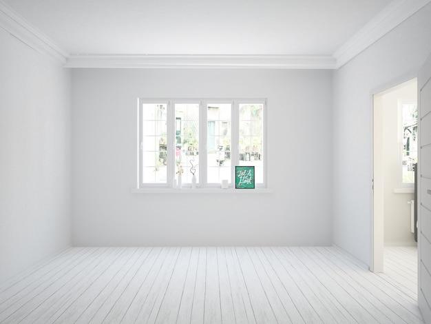 Pusty biały salon z drewnianą podłogą i widnow