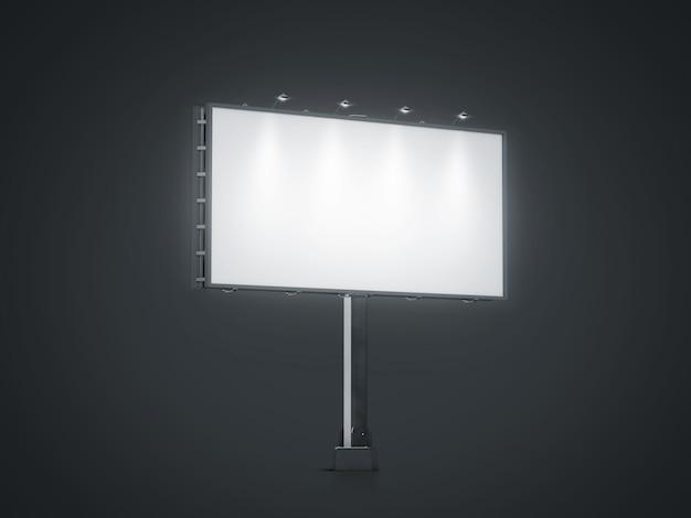 Pusty biały sztandar makiety na miasto billboard w nocy