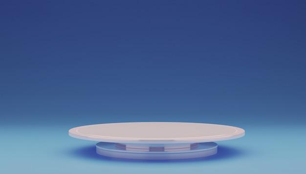 Pusty biały talerz na niebiesko.
