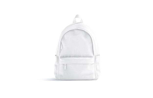 Pusty biały zamknięty plecak z zamkiem błyskawicznym, widok z przodu, renderowanie 3d. pusty chlebak turystyczny lub naukowy z uchwytem i kieszenią, na białym tle. przezroczysty worek na siłownię lub sport